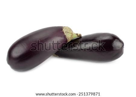 fresh and ripe eggplants isolated on white background - stock photo
