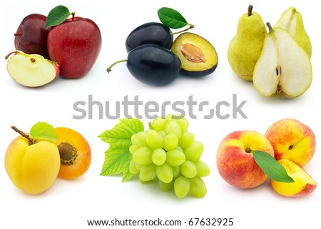 Fresh and ripe fruits on a white background - stock photo
