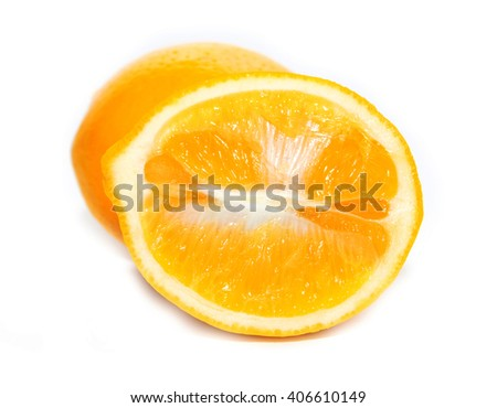 Fresh and Ripe Orange - Isolated / Slice of ripe orange isolated on white