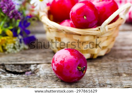 fresh and ripe organic plums on the basket.rustic style.selective focus - stock photo