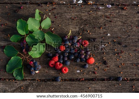 Fresh and ripe shadberry, raspberry with branch, leaves scattered on the weathered wooden table in garden - stock photo