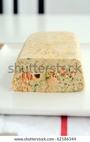 Fresh and smoked salmon terrine - stock photo
