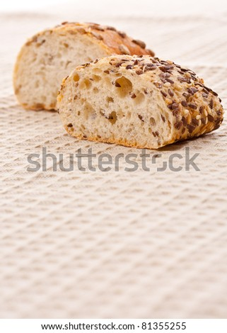 Fresh and soft tasty bread, with space for text - stock photo