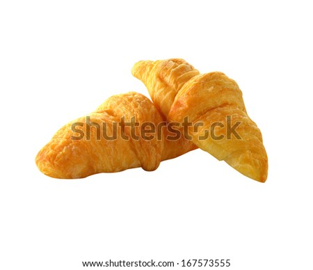 Fresh and tasty croissant over white background.