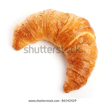 Fresh and tasty croissant over white background - stock photo