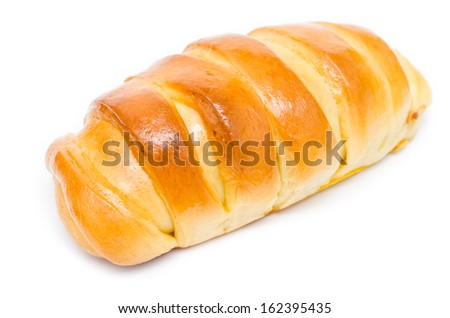 Fresh And Tasty Croissant With Honey Topping On White Background - stock photo