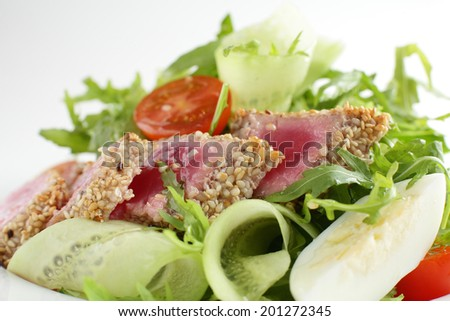 fresh and tasty european salad on bright background