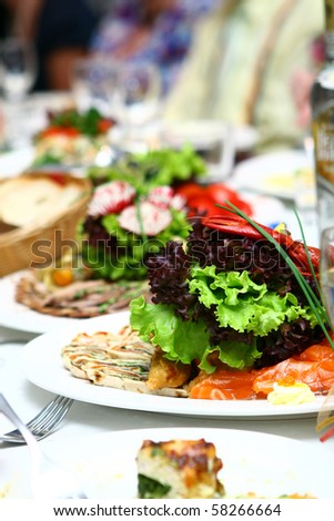 fresh and tasty food on the table - stock photo