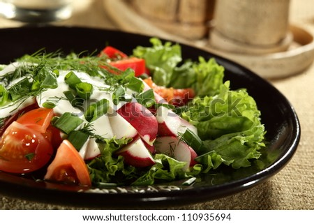 fresh and tasty salad on the table