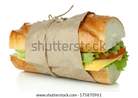 Fresh and tasty sandwich isolated on white - stock photo
