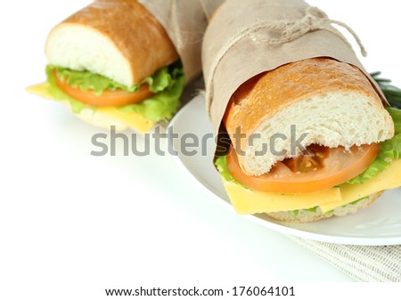 Fresh and tasty sandwich isolated on white