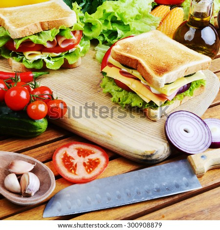 Fresh and tasty sandwich on wooden cutting board - stock photo