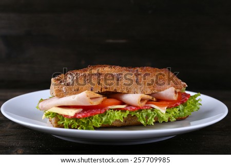 Fresh and tasty sandwich with cheese and vegetables on plate on wooden background - stock photo