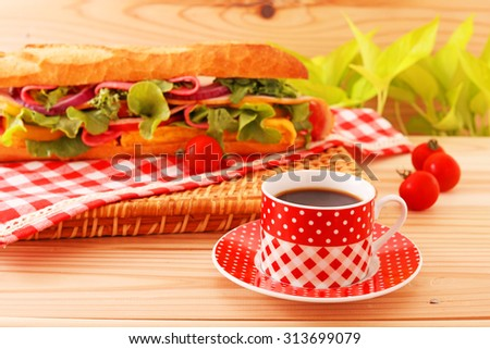 Fresh and tasty sandwich with coffee - stock photo