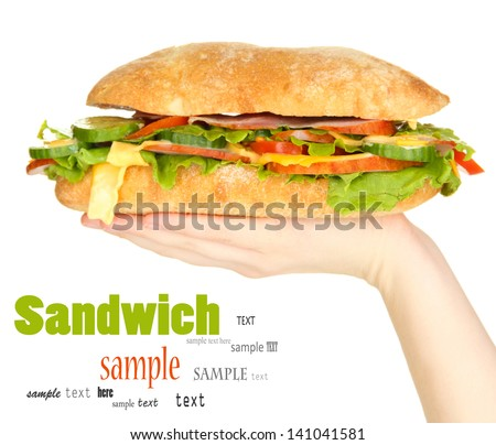Fresh and tasty sandwich with ham and vegetables in hands isolated on white - stock photo