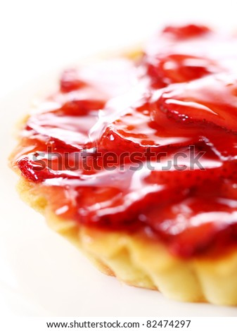 Fresh and tasty strawberry cake isolated over white background - stock photo