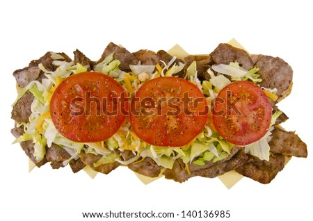 Fresh and tasty submarine sandwich, isolated on white background. top view - stock photo
