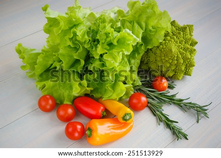 Fresh and variety vegetables on light wood - stock photo