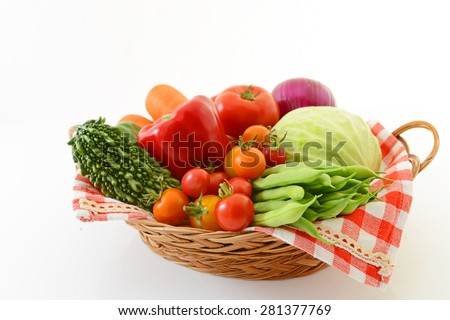 Fresh and variety vegetables on white background  - stock photo