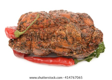 fresh and very tasty chicken ham on white background - stock photo
