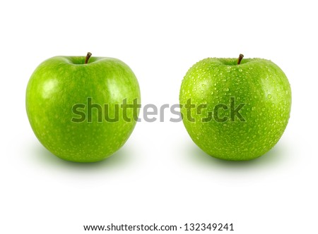 Fresh and wet green apple on white background - stock photo
