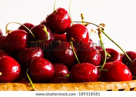 fresh appetizing  and tasty cherry closeup summer - stock photo