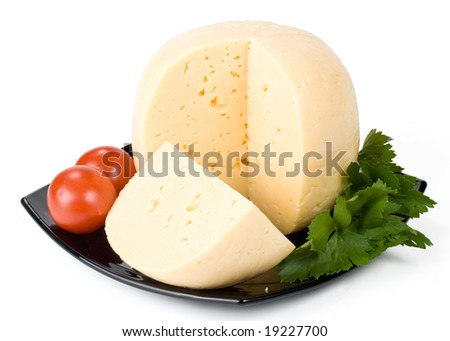 Fresh appetizing cheese on a white background
