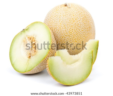 Fresh appetizing melon on a white background - stock photo