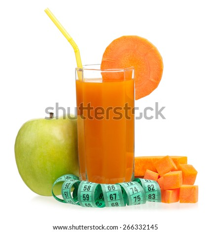 Fresh apple an carrot juice with tape measure isolated on white background