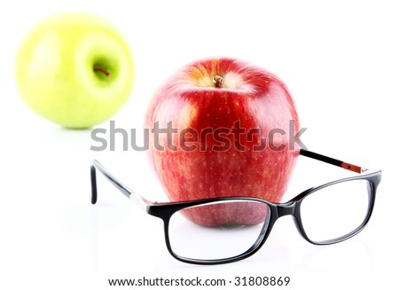 fresh  apple and glasses