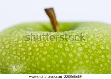 fresh apple closeup macro - stock photo