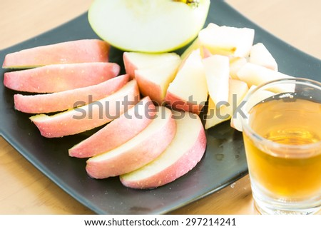 fresh apple fruit with salad sauce