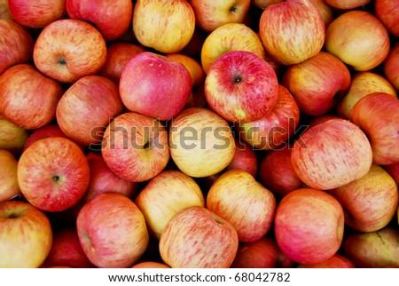 fresh apple in market closeup background , Asia , Thailand - stock photo
