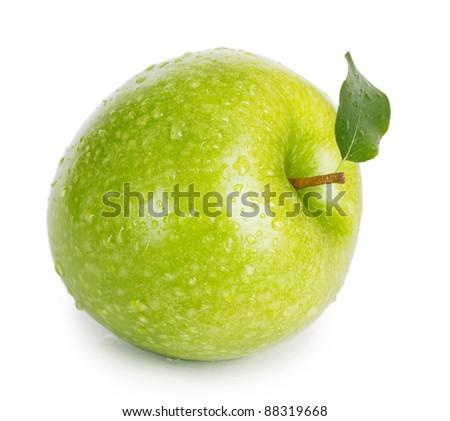 fresh apple isolated on white - stock photo
