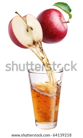 Fresh apple juice flowing from apple piece into the glass. Isolated on a white background. - stock photo