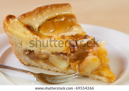 fresh apple pie on a white plate - stock photo