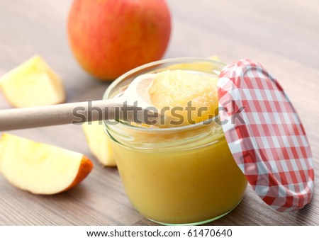 fresh apple puree in glass