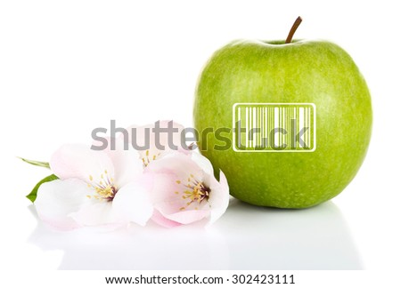 Fresh apple with barcode and apple blossom, isolated on white - stock photo