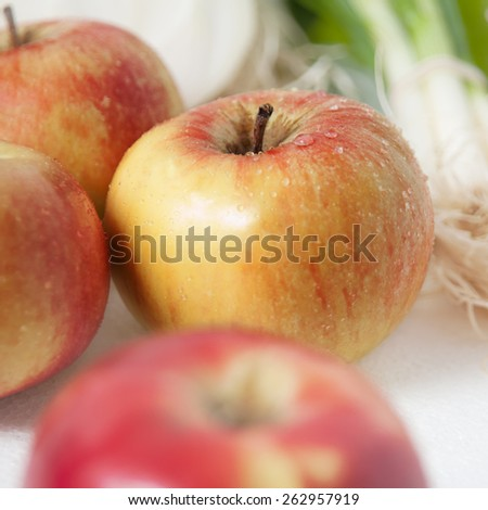 Fresh Apple with water drops  - stock photo