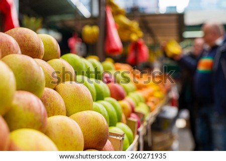 Fresh apples at marketplace. Shallow depth of field.