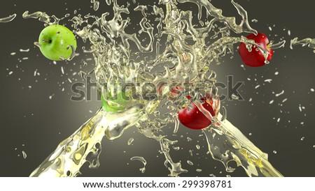 Fresh apples in apple juice splash over dark background - stock photo