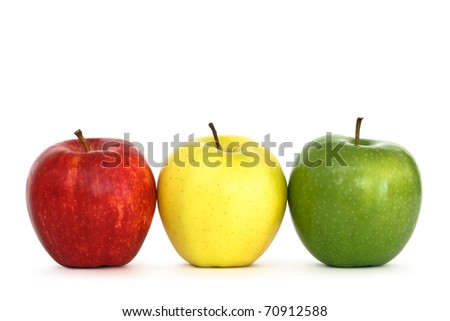 fresh apples on white background - stock photo
