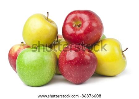 fresh apples on white background - stock photo