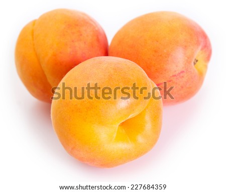 fresh apricot isolated on white background - stock photo
