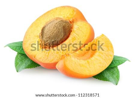 Fresh apricots halves isolated on white - stock photo