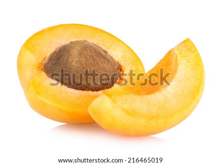 fresh apricots isolated on white background - stock photo