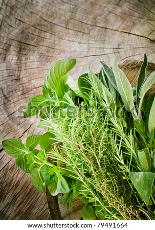Fresh aromatic herbs on old wooden background - stock photo