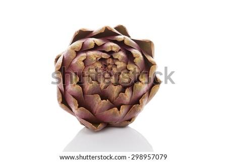 Fresh artichoke isolated on white background. Healthy vegetable eating.  - stock photo