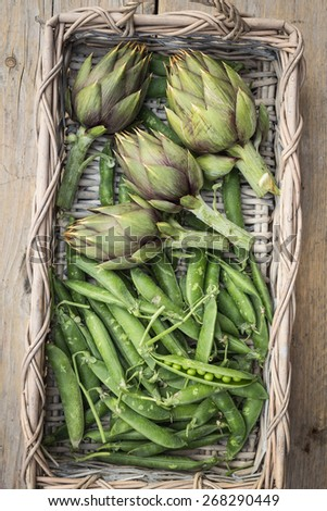 fresh artichokes and peas in a basket on rustic wooden background - stock photo