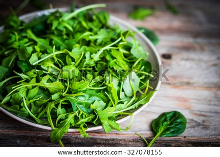 Fresh arugula and spinach salad on rustic background - stock photo